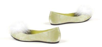 013-TINKER, Children's Green Tinkerbell Costume Ballet Slipper by Ellie Shoes