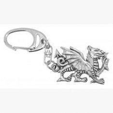Fine Quality English Pewter Welsh Dragon Keyring, Lovely Gift Idea