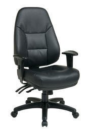 Deluxe Multi Function Mid-Back Leather Office Chair with Arms Finish: Black