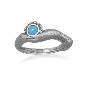 Oxidized Turquoise Ring/ Size 8