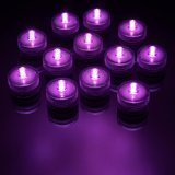 Famixyal 12 Pcs Submersible Unscented Tea Light Underwater Lights Led Tealights Candles Decoration Lights For Wedding Party (Purple)