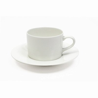 Maxwell And Williams Basics Straight Cup And Saucer, 7.5-Ounce, White