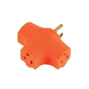 3-grounded Outlet T-shaped Adapter, Orange