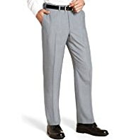 Active Waistband Supercrease® Flat Front Trousers with Wool