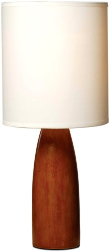 Normande HN1-1482 Flager 60-Watt Polyresin Wood-Look Table Lamp with Fabric Shade