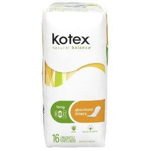 Kotex Natural Balance Absorbent Pantiliners - Long 16-Count (Pack of 12)