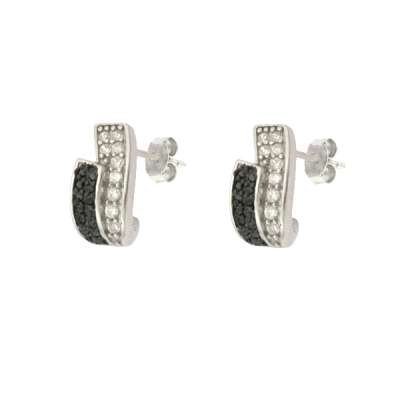 New Jewelry Stud Earrings 925 Sterling Silver and Black Plating with Black and Clear and Small CZ (WoW !With Purchase Over $50 Receive A Marcrame Bracelet Free)