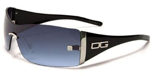 DG Eyewear Ladies Rimless Fashion Sunglasses (Black - Blue Lens)