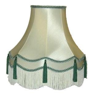 18 Inch Laura Green Tassel Fabric Lampshade