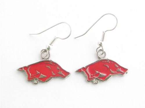 Arkansas Razorbacks UA Silver Fashion French Hook Red Earrings at Amazon.com