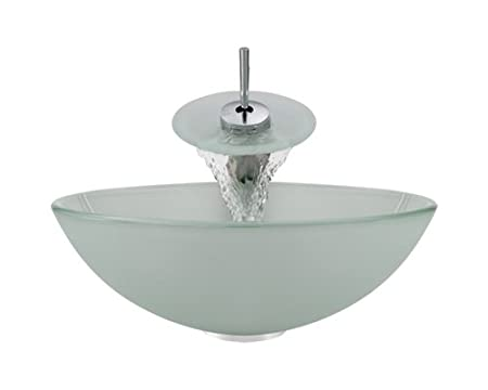 Aurora Sinks G02-Tundra-C-V Bathroom Ensemble with Pop Up Drain, Tundra Frosted Glass Vessel, Sink, Ring and Waterfall Faucet, Chrome