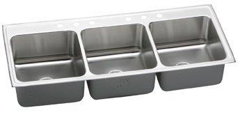 Elkay LTR6322100 Lustertone Bowl Triple Basin Kitchen Sink
