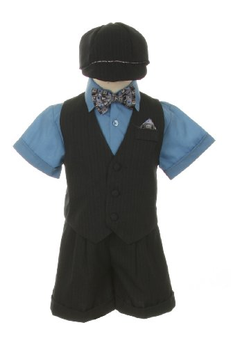 Dress Suit Outfit Set-Shorts,Bowtie,Vest, Short Sleeve Shirt & Hat for Infant Baby Boys & Toddler, Blue-Gray-Pinstripe