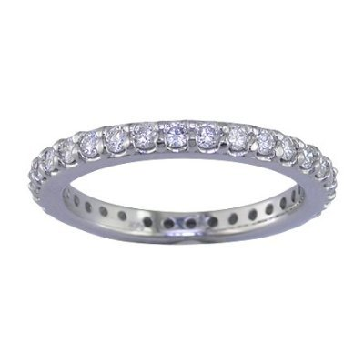 1 Ct Round Cut Dimaond Eternity Wedding Band Ring in 14K White Gold In Size O (Available In Sizes J - T)