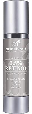 Art Naturals® Retinol Cream Moisturizer 1.7 oz with 2.5% Active Retinol & 20% Vitamin C, Hyaluronic Acid, Vitamin E & Aloe Vera - Best Anti Wrinkle, Anti Aging Serum for Face & Sensitive Skin