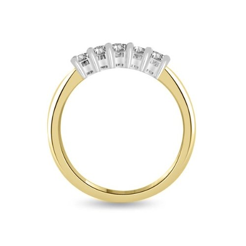 0.60 carat Diamond Half Eternity Ring for Women. F/VS1 Round Brilliant Diamonds in 4 Claw Setting in 18ct Yellow & White Gold