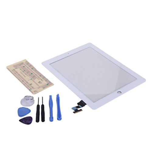 Hde Ipad 2 Digitizer Touch Screen Replacement Parts W/ 7 Piece Tool Kit And Adhesive Tape (White)