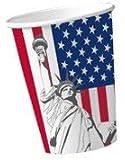 Trinkbecher: Pappbecher, Amerika-Design, 200 ml, 10er-Pack