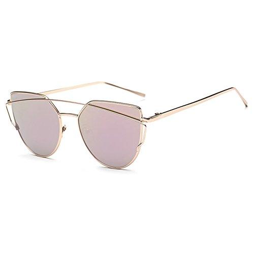 Highdas Nuovo gatto dell'occhio Occhiali da sole Aviator donne del metallo di modo annata cornice dello specchio di vetro di Sun unico piatto signore degli occhiali da sole UV400 C6