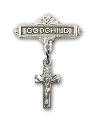 Sterling Silver Baby Badge with Crucifix Charm and Godchild Badge Pin