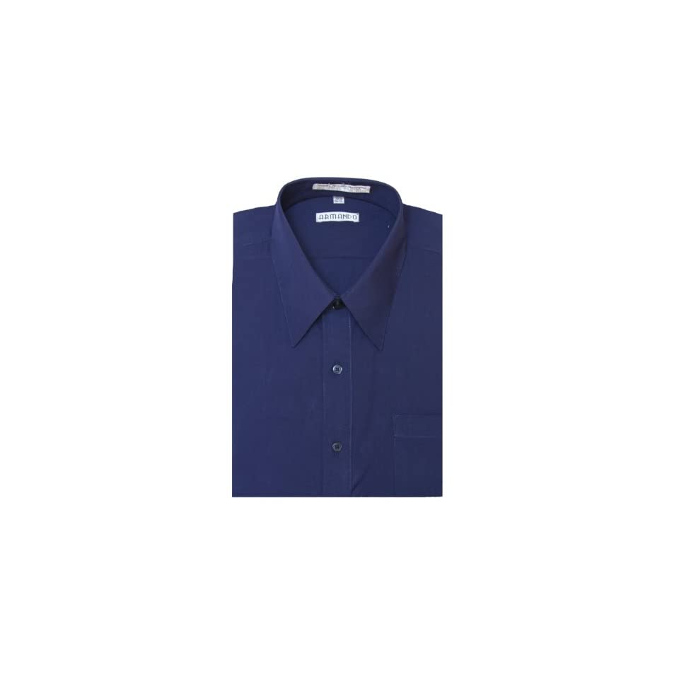 Mens NAVY BLUE Dress Shirt w/ Convertible Cuffs