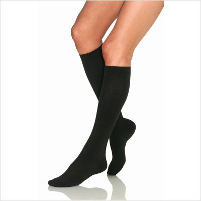 Women'S Casual 8-15 Mmhg Knee High Support Sock Size: Medium, Color: Black