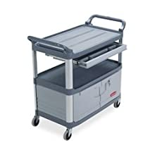 "Rubbermaid Commercial HDPE Service Cart with Lockable Doors and Sliding Drawers, 2 Shelves, Gray, 300 lbs Load Capacity, 37-13/16"" Height, 40-5/8"" Length x 20"" Width"