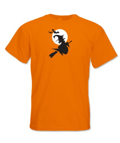 Mens printed t shirt halloween witch m orange cheap for Printed t shirt cheap