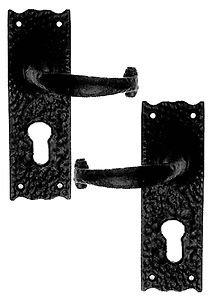 Rustic Door Handles with Euro Lock Black Cast Iron from OriginalForgery