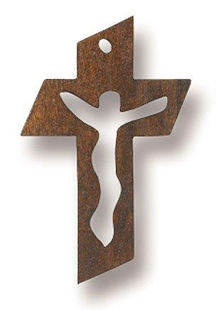 Dark Wooden Small Cut Out Catholic Christian Crucifix Cross Jesus Christ Pendant