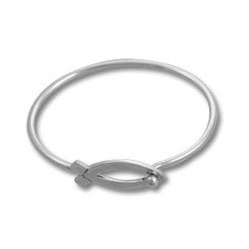 Sterling Silver Christian Ichthus Bangle Bracelet