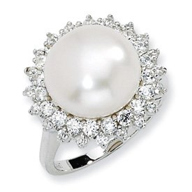 Genuine IceCarats Designer Jewelry Gift Sterling Silver Cz Cultured Pearl Ring Size 6.00