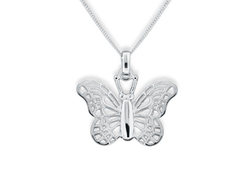 Silver Filigree Butterfly Pendant on adjustable curb Chain 41cm-46cm