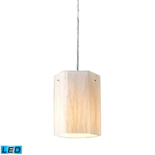 Modern Organics-1-Light Pendant In White Sawgrass Material In Polished Chrome - Led Offering Up To 800 Lumens (60 Watt Equivalent) With Full Range Dimming. Includes An Easily Replaceable Led Bulb (120V).
