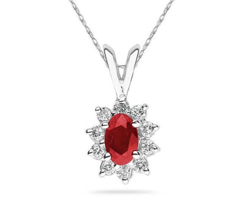 Oval Ruby and Diamond Gold Flower Pendant