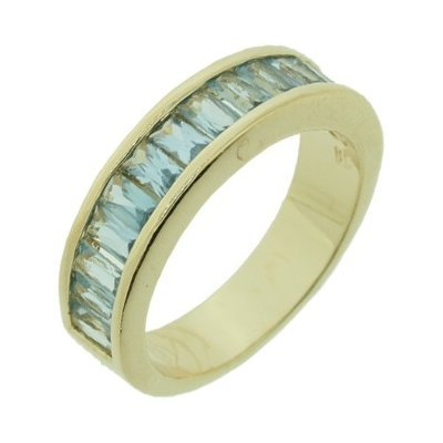 18K Gold Plated Blue Cubic Zirconia Half Eternity Wedding Band Ring - Size 9