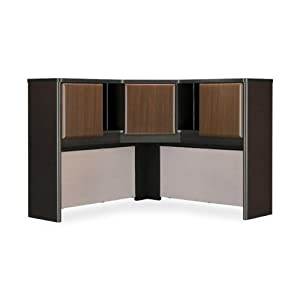 "Bush Series A 48"" Corner Hutch in Sienna Walnut/Bronze"