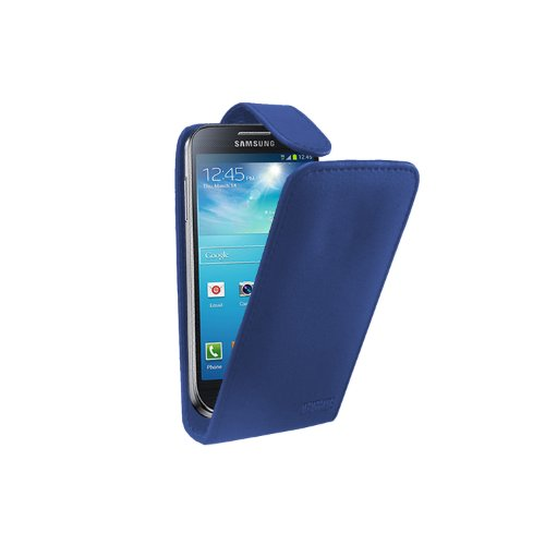 Blau Leder Tasche Hülle Samsung Galaxy S4 Mini (GT-i9190 / i9192 Dual Duos / i9195 LTE) - Flip Case Cover + 2 Displayschutzfolie