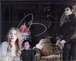 Signed Dark Shadows (Johnny Depp / Chloe Grace Moretz) 8x10 Photo By Johnny Depp and Chloe Grace Moretz autographed