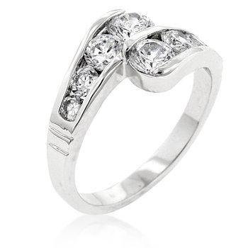 White Gold Rhodium Bonded Anniversary Ring with Channel Set Clear CZ in Silvertone