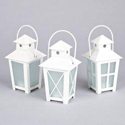 Metal Lanterns With Led Tea Lights, 5.5 Inch, Timer, White Set Of 12