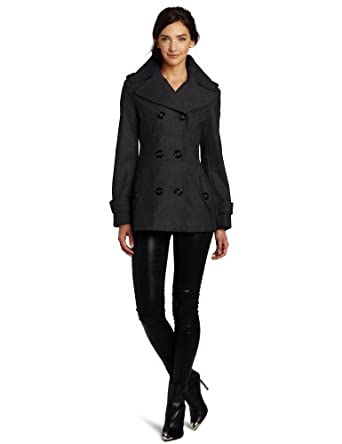 Miss Sixty Women's Esther Peacoat, Charcoal, X-Small