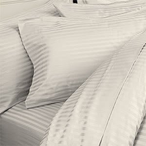 STRIPED 1500 Thread Count Egyptian KING/CAL KING Duvet Cover Set, IVORY