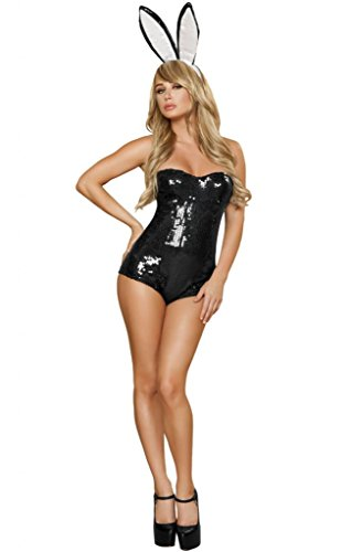 Sexy Sequins Playboy Bunny Girl Halloween Costume