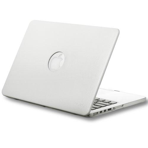 #1  Kuzy - Retina 13-Inch WHITE LEATHER Hard Case for MacBook Pro 13.3
