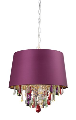 B006154QQC Sterling Industries 122-007 Purple Drum Pendant Lamp with Multi Color Crystal Drops