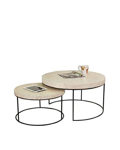 Jeffan Modern Capiz 2-Piece Coffee Table Set