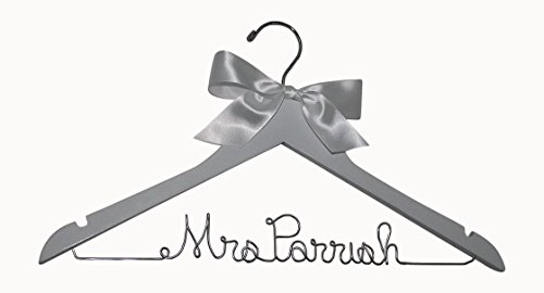 Personalized Hanger for Wedding Dress on White Wood Premium Hanger with Silver Wire
