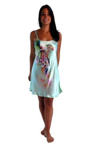 Silk Nightgown Chemise for Women - Calla Lilies (Small) - Hand Painted Luxury Sleepwear Valentines Day Lingerie Pajamas Valentines day clothes clothing Apparel Romantic lingerie nightgown pure silk charmeuse short gown camisole intimate nightwear lingerie