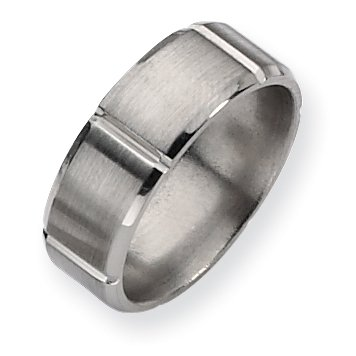 Titanium Beveled Edge Grooved 8mm Brushed And Polished Band, Size 9.5